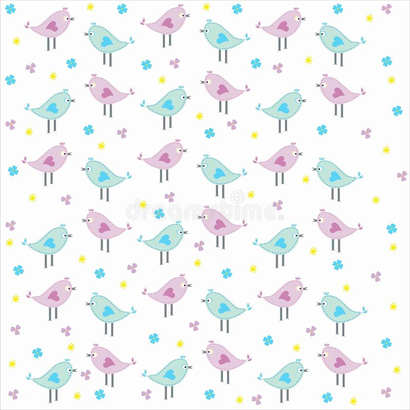 Scrapbook Background with cute loving birds stock photography