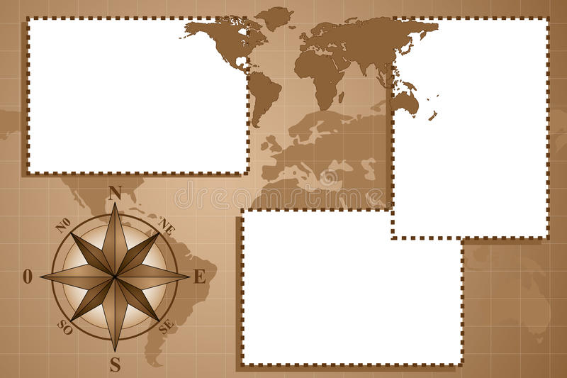 Scrapbook with compass rose and map world. Scrapbook with map world and compass rose, vintage style vector illustration