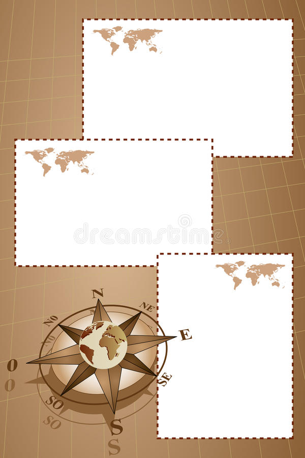 Scrapbook with compass rose and map world. Scrapbook with map world, globe and compass rose, vintage style royalty free illustration