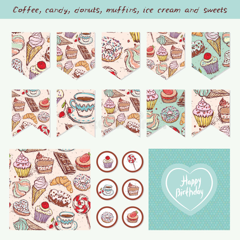 Scrapbook Design Elements Hand drawn confectionery set. Croissant Cupcake candy marshmallow ice cream cake donut and coffee. Birthday, baby shower, party stock illustration