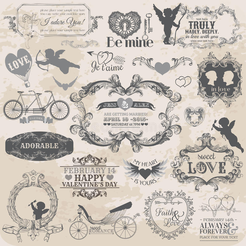Download Vintage Valentines Love Set Royalty Free Stock Photo - Image: 29900465