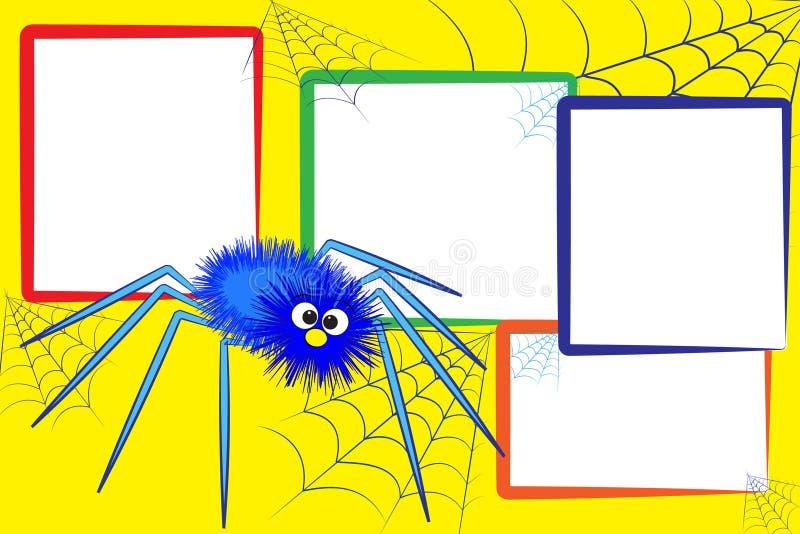 Scrapbook do miúdo - aranha e spiderweb ilustração do vetor
