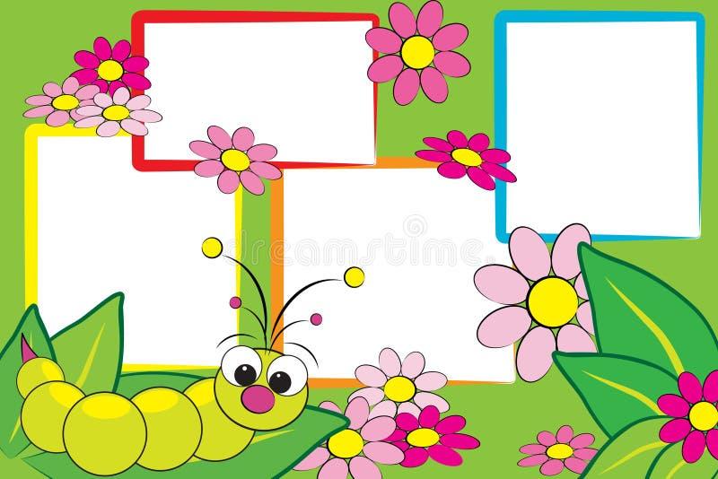 Scrapbook do miúdo - Grub e flores ilustração stock