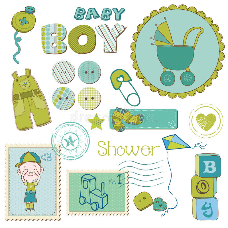 Scrapbook Dziecka prysznic Chłopiec Set ilustracja wektor