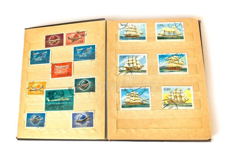 Scrapbook e porte postal velhos imagens de stock