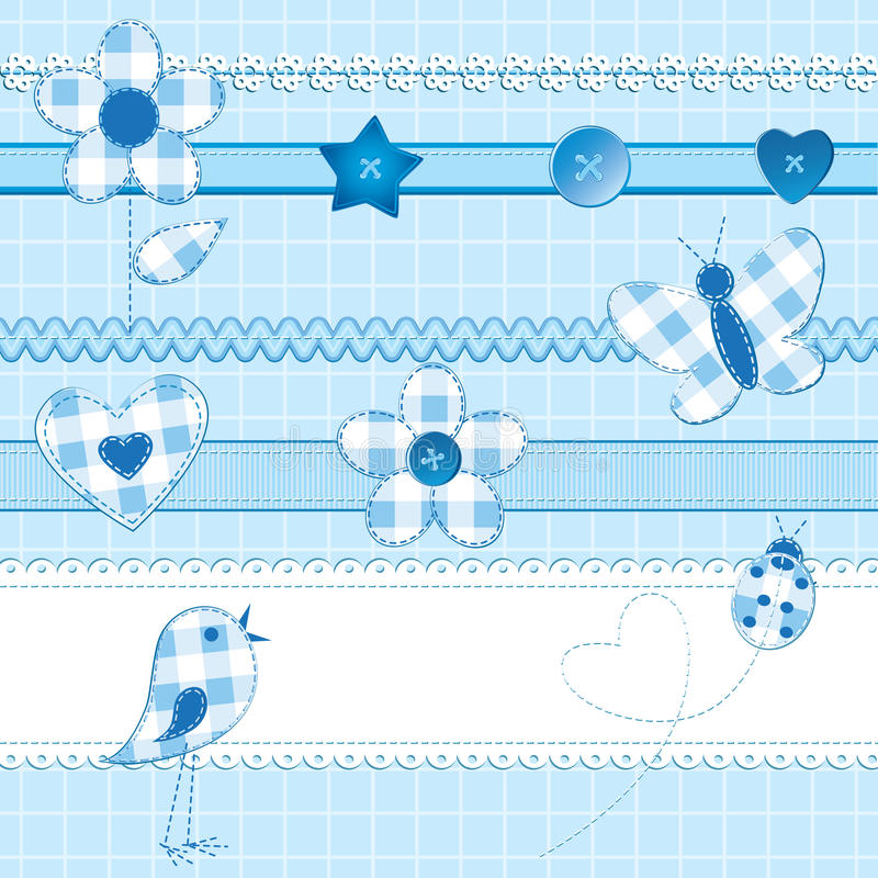 Scrapbook elements in blue. A set of 15 scrapbook elements: flowers, ribbons, buttons, ladybug and bird on a checkered background. Blue color, perfect for baby vector illustration