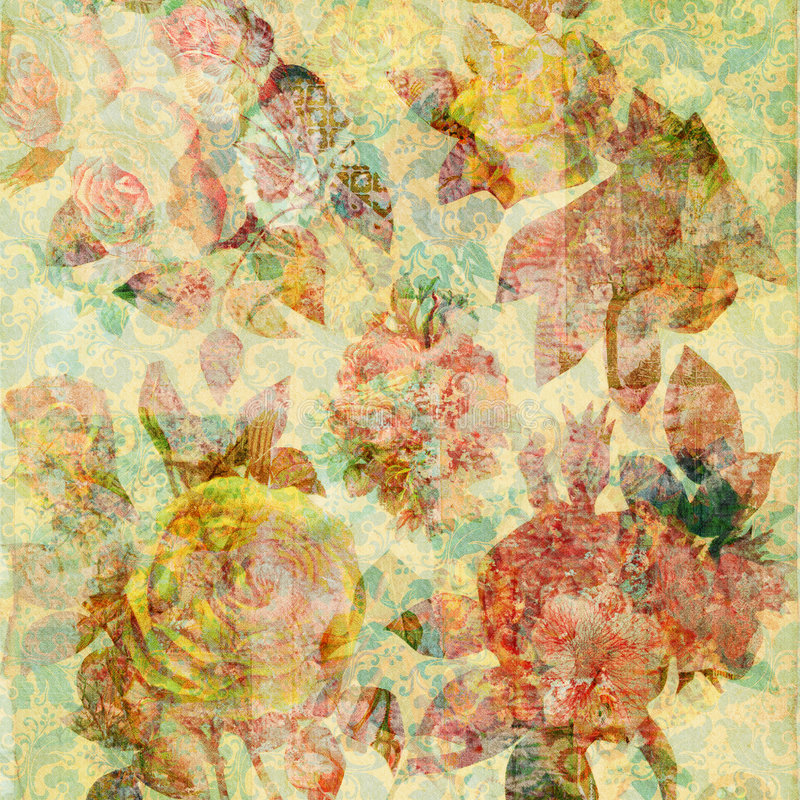 Scrapbook floral collage Background royalty free stock image