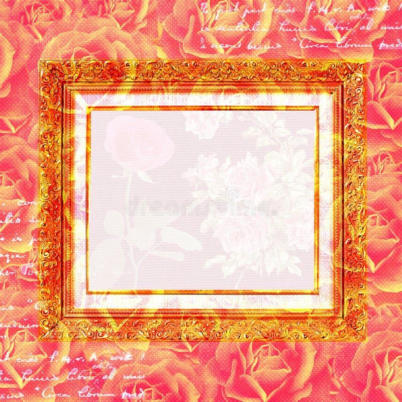 Scrapbook kwiatów ramowy tło royalty ilustracja