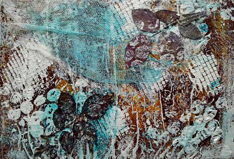 Scrapbook Mixed Media Page. Texture, paint, rose leaves, gauze stock images