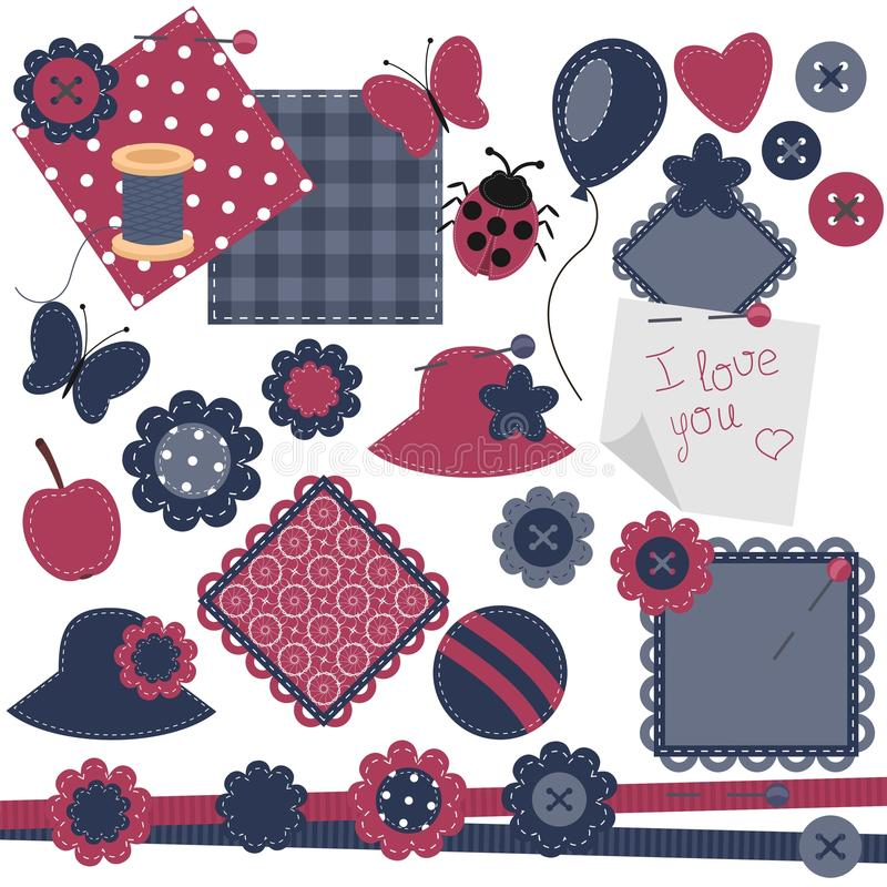 Scrapbook objects on white background vector illustration