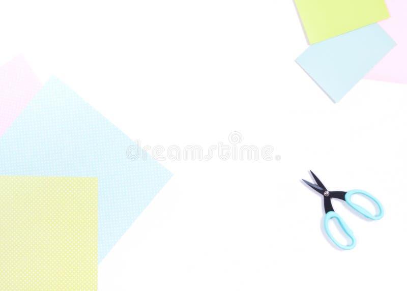 Scrapbook paper scissors. White background stock illustration