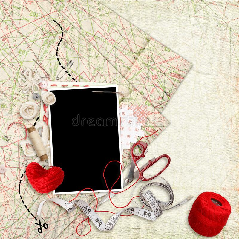 Free Scrapbook Photo Album For Sewing And Handmaking Lovers Stock Images - 171880544
