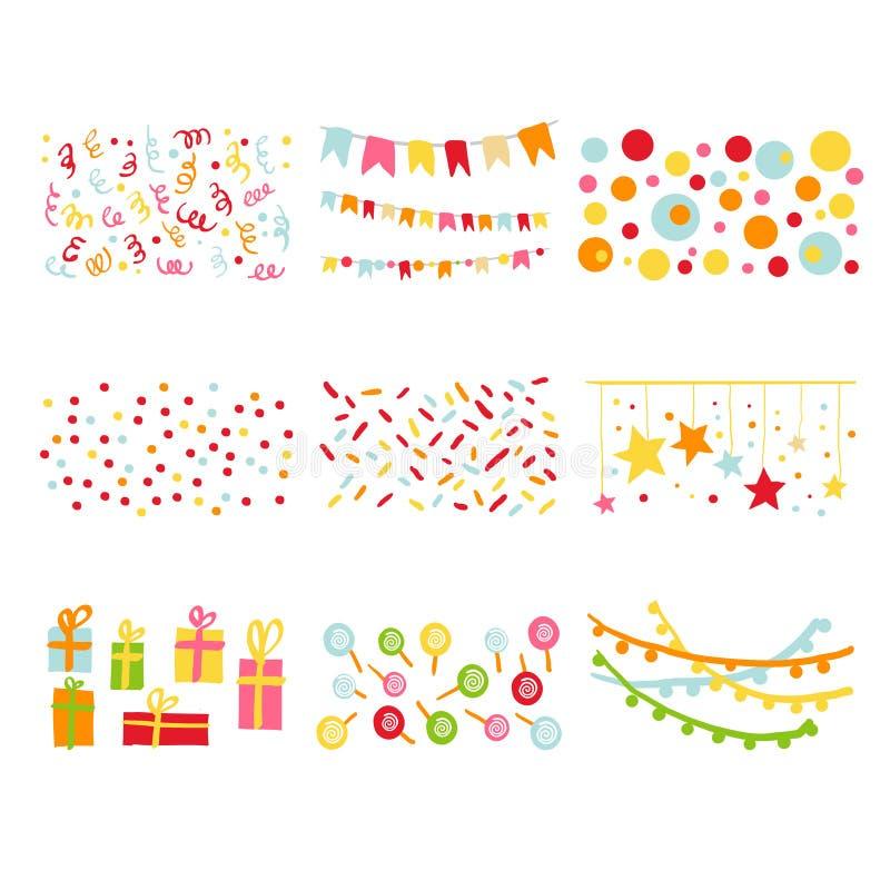 Scrapbook projekta elementów przyjęcia urodzinowego set ilustracja wektor