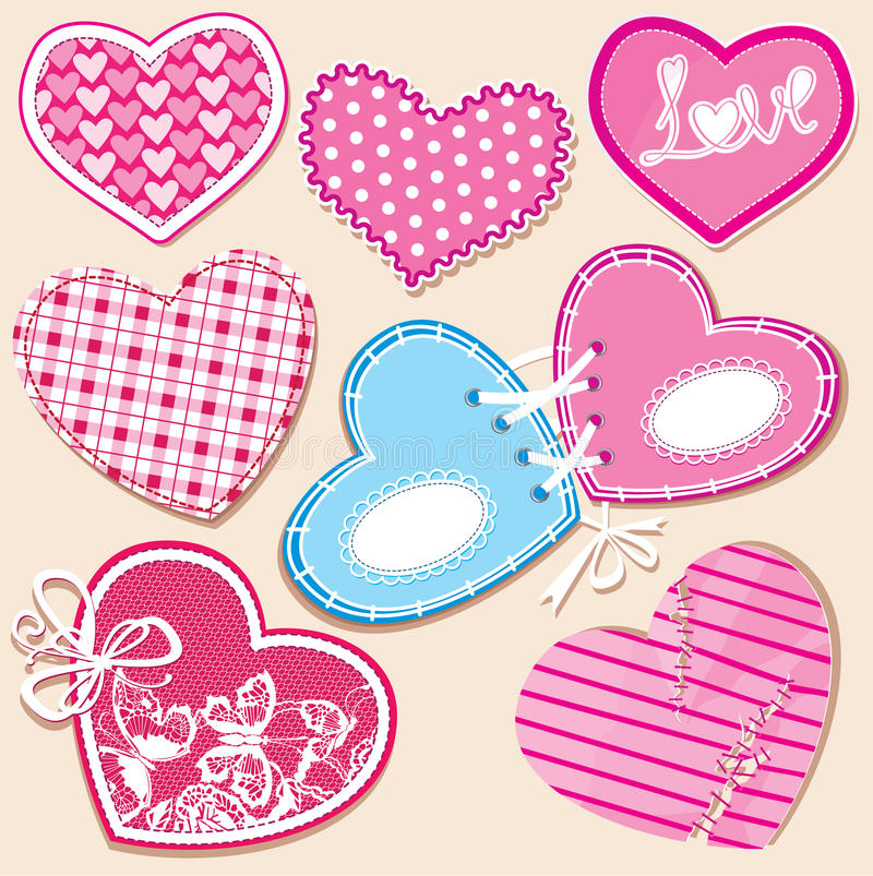 Free Scrapbook Set Of Hearts In Stitched Textile Style Royalty Free Stock Images - 25534899