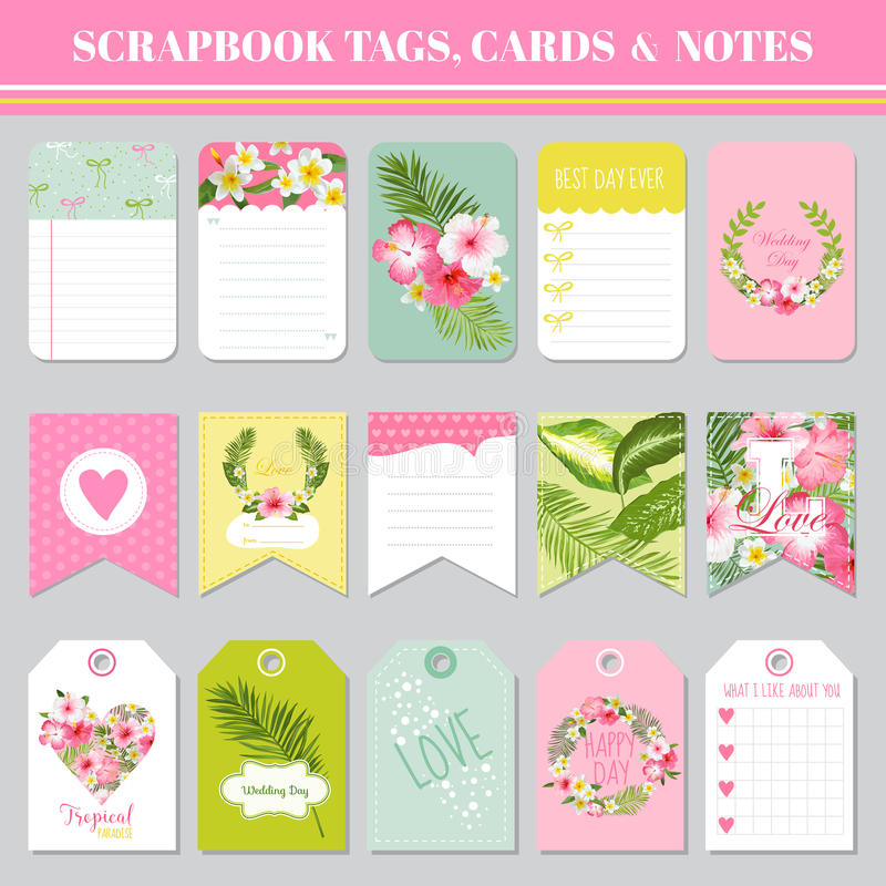 Scrapbook Tags Cards And Notes For Birthday Baby Shower Stock