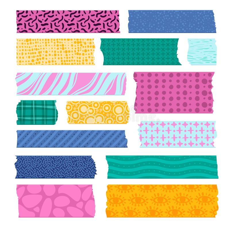 Scrapbook tape. Color patterned borders, decoration adhesive tapes. Paper scotch strips, colorful fabrics tags vector stock illustration