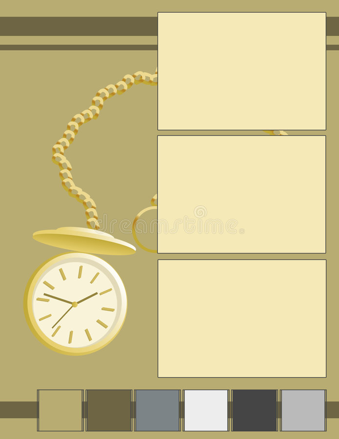 Scrapbook - Time Goes By. A scrapbook style background featuring a tan background, bright gold pocketwatch, and a row of squares royalty free illustration