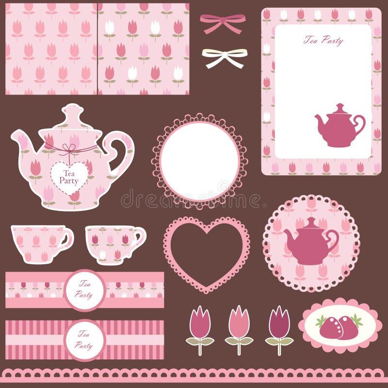 Scrapbook ustawiający dla herbacianego przyjęcia royalty ilustracja