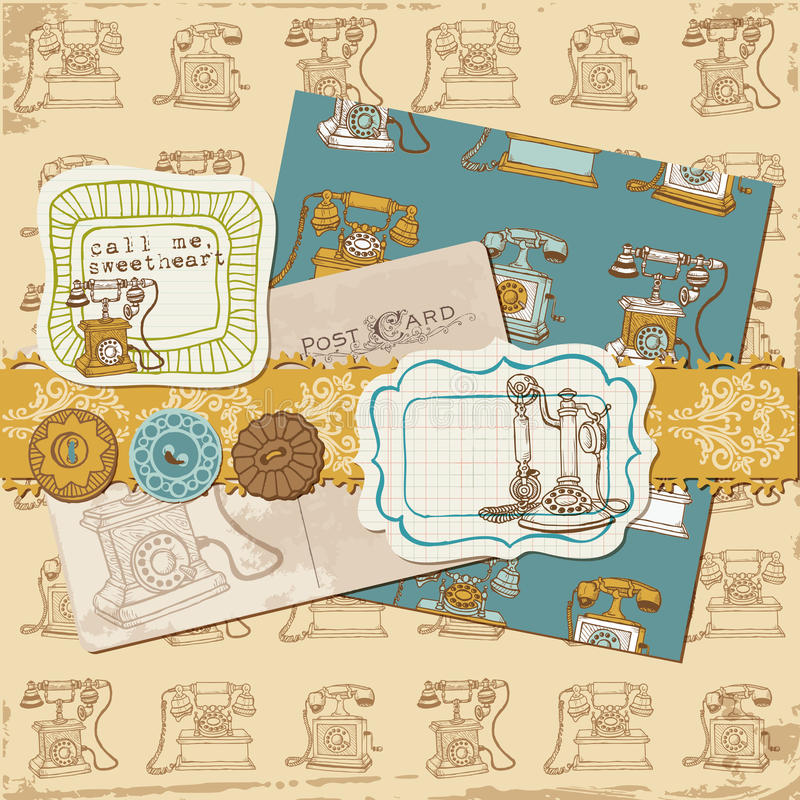 Scrapbookdesignelement royaltyfri illustrationer