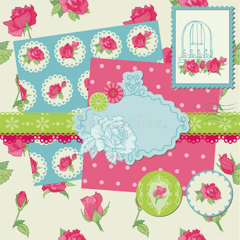 Scrapbookdesignelement - Rose blommor royaltyfri illustrationer