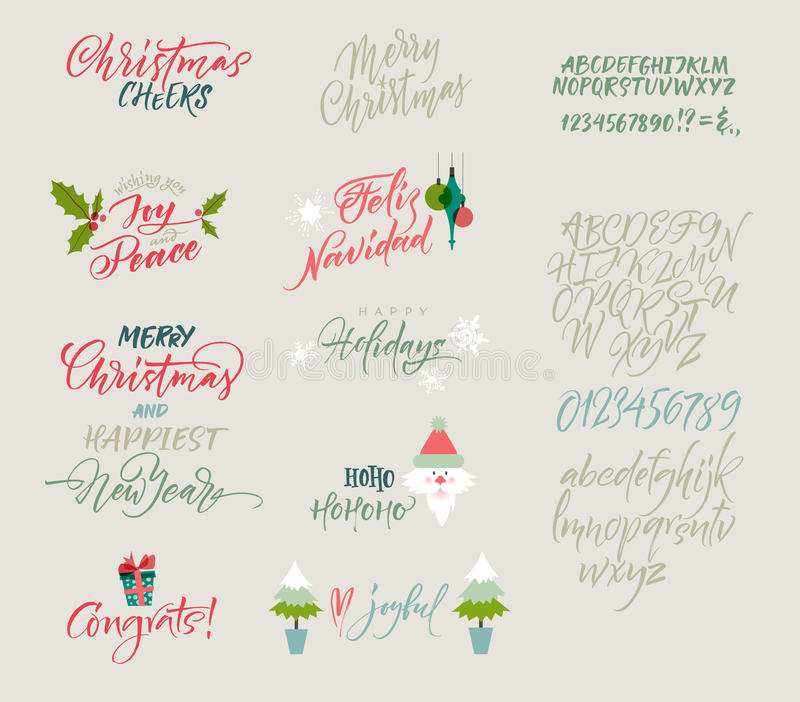 scrapbooking向量的字母表要素 圣诞节和新年congrats 季节问候 库存例证