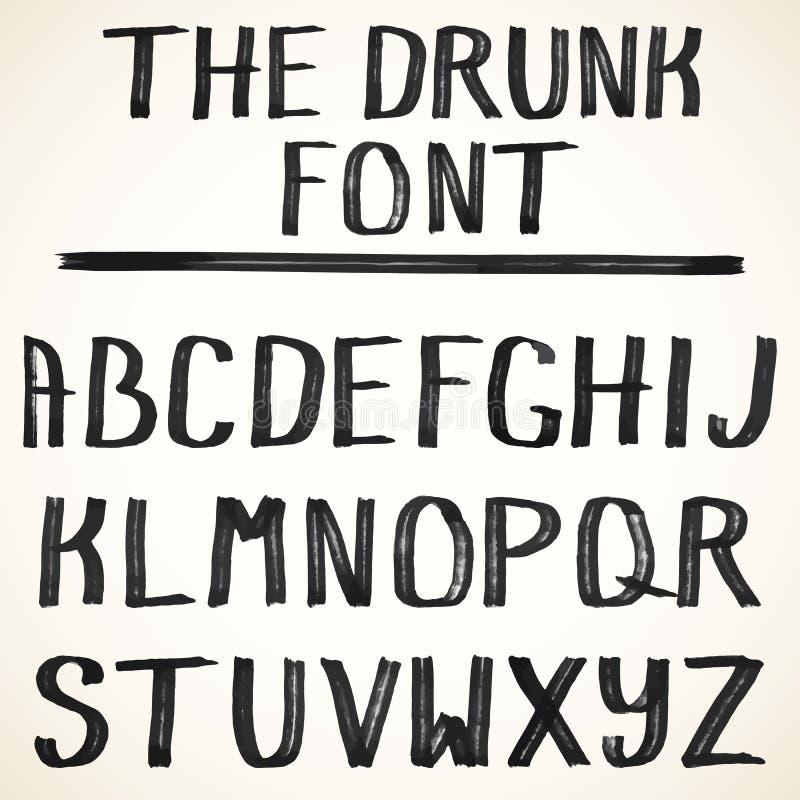 scrapbooking向量的字母表要素 大写手拉的难看的东西字母表写与一把黑颜色刷子 向量例证