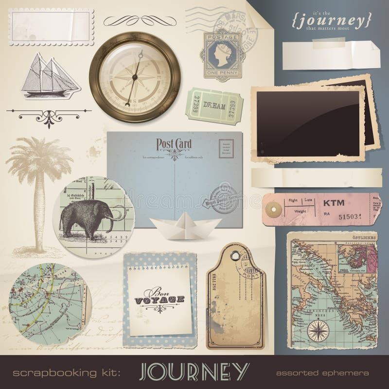 scrapbooking要素的旅途 向量例证