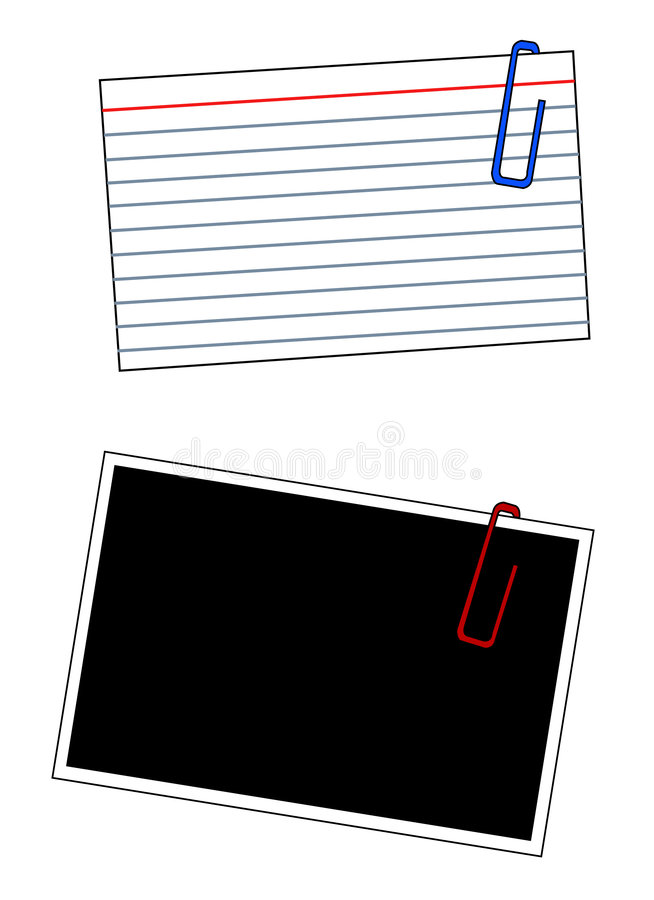 Scrapbooking. Blank index cards and photo frames with paper clips - vector vector illustration