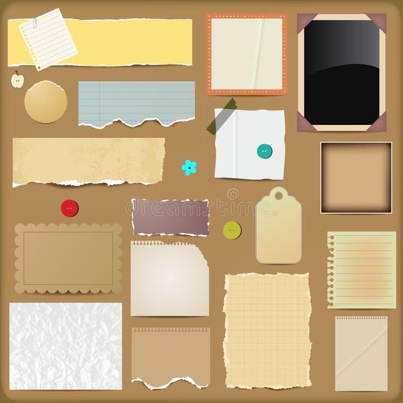 Scrapbooking Elemente - Papiere lizenzfreie abbildung