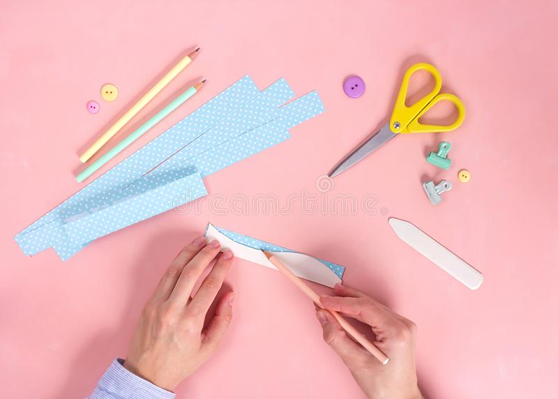Scrapbooking master class. Diy. Make a Valentines day card whith paper hearts. Women& x27;s hobby. Craft supplies on the table stock photos