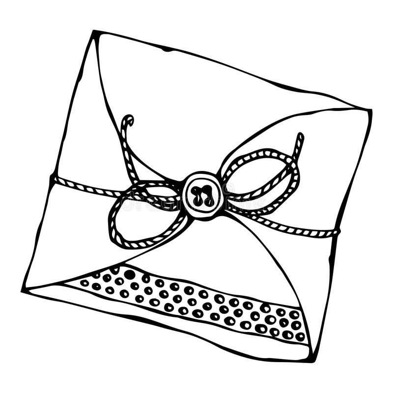 Scrapbooking Style Envelope with Tape or Ribbon and Button. Ink Vector Illustration Isolated On a White Background vector illustration
