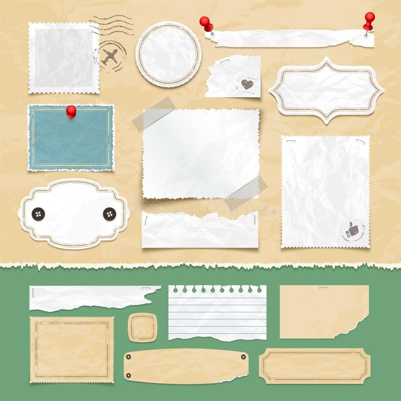 Scrapbooking vektorbeståndsdelar för tappning Gamla restlegitimationshandlingar, fotoramar och etiketter stock illustrationer