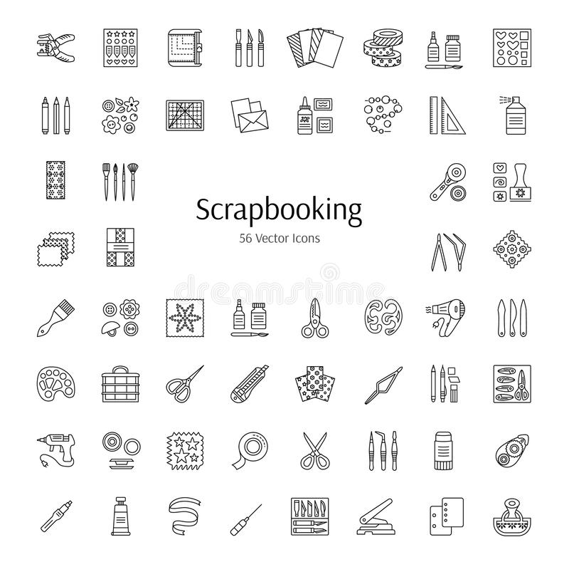 Scrapbooking vektorlinje symboler Hjälpmedel och tillbehör för rest vektor illustrationer