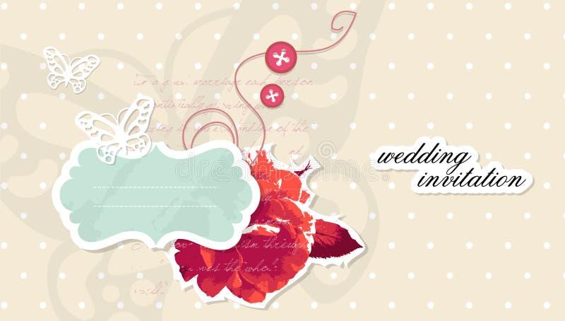 scrapbooking wektorowego ślub karciany zaproszenie ilustracji