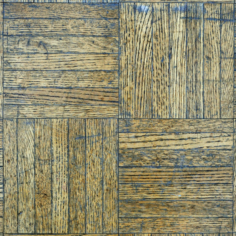 Scraped wooden floor. A closeup of a wooden floor pattern, scraped and dirty royalty free stock photos