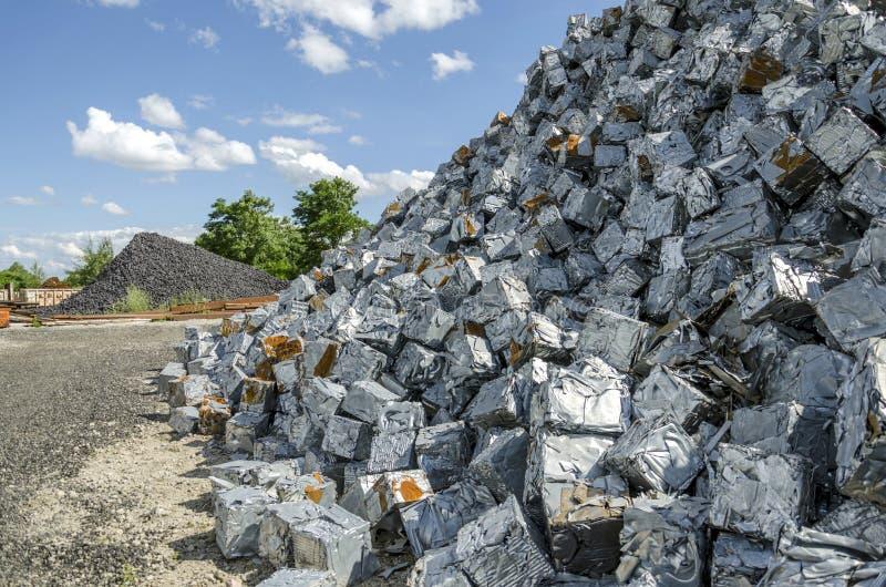 Scrapheap metal piles royalty free stock image