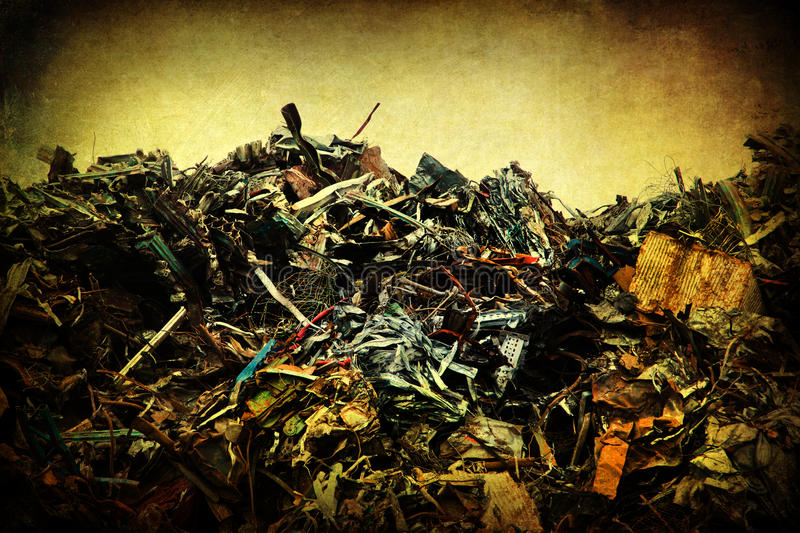 Scrapheap with grunge texture royalty free stock photo