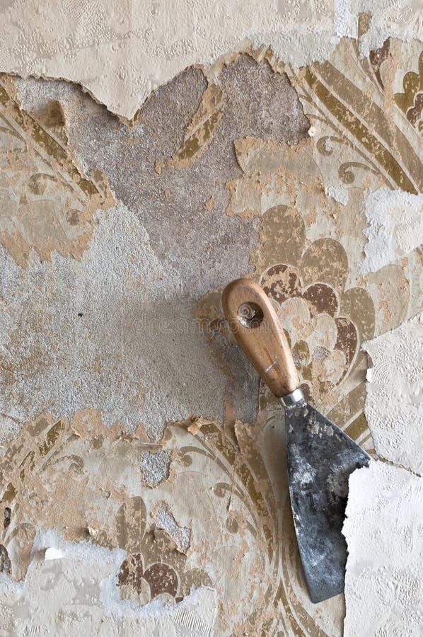 Scraping wallpaper at renovation stock photo