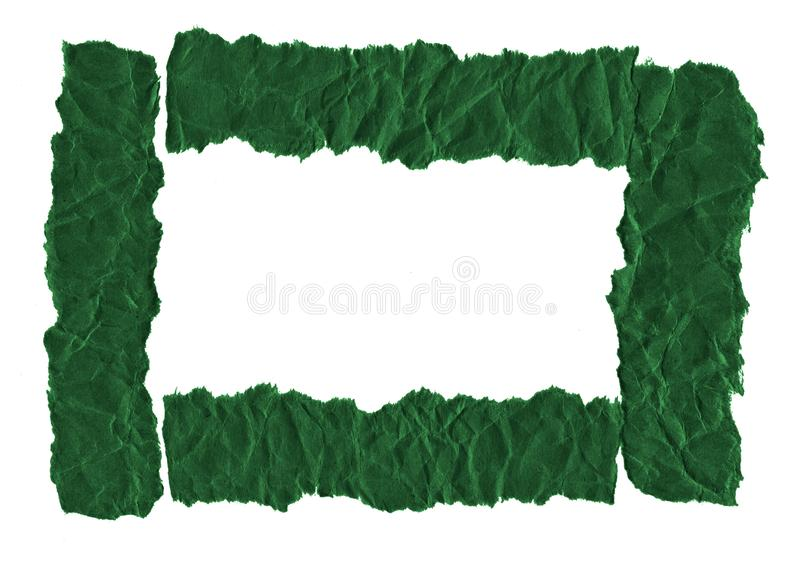 Scraps of dark green paper on a white background. Isolated on white. Ready frame for design, template. Torn paper royalty free stock photos