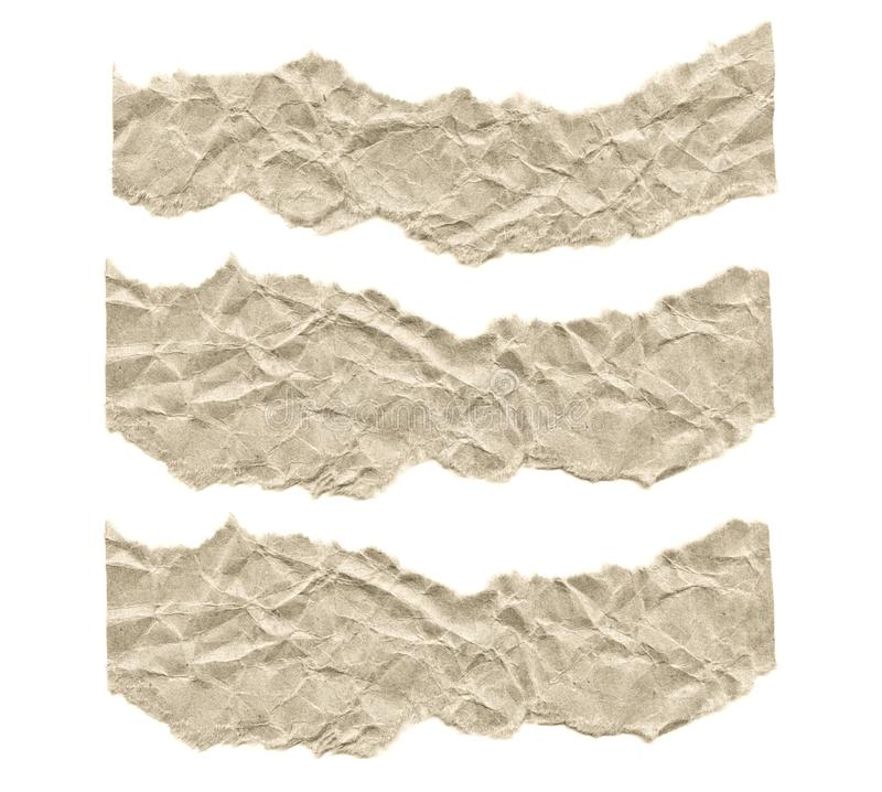 Scraps of paper on a white background. Isolated on white. Ready frame for design, template. Torn paper royalty free stock images