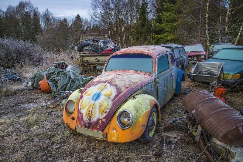 Scrapyard voor auto's (Volkswagen) stock fotografie