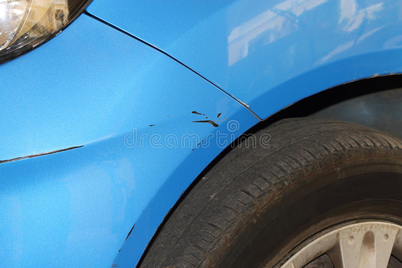 Scratch on car bumper stock photos
