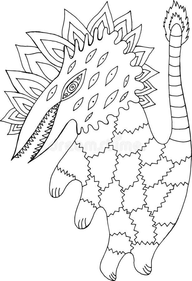 Scratch fantastic monster. Line art sketch. Coloring page for adults and kids. Vector illustration.  royalty free illustration