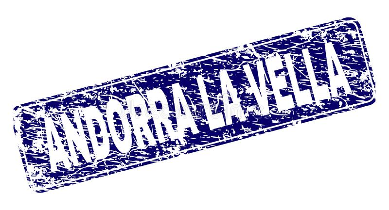 Scratched ANDORRA LA VELLA Framed Rounded Rectangle Stamp. ANDORRA LA VELLA stamp seal imprint with grunge style. Seal shape is a rounded rectangle with frame royalty free illustration