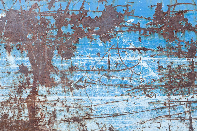 Scratched blue metal texture. Scratched messy blue metal texture stock photos