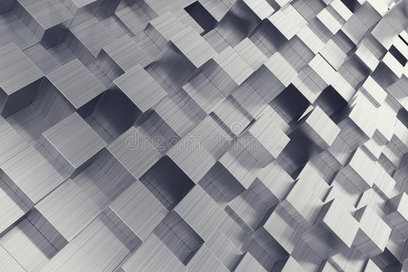 Scratched cubes abstract background with focus effect. 3d illustration royalty free illustration