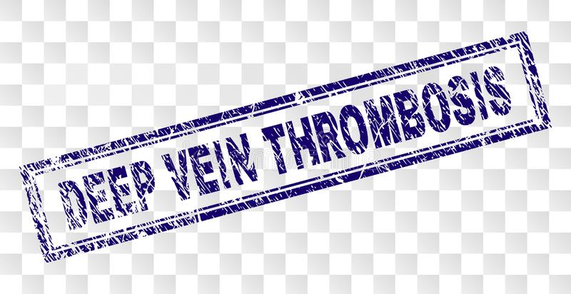 Scratched DEEP VEIN THROMBOSIS Rectangle Stamp. DEEP VEIN THROMBOSIS stamp seal print with rubber print style and double framed rectangle shape. Stamp is placed vector illustration