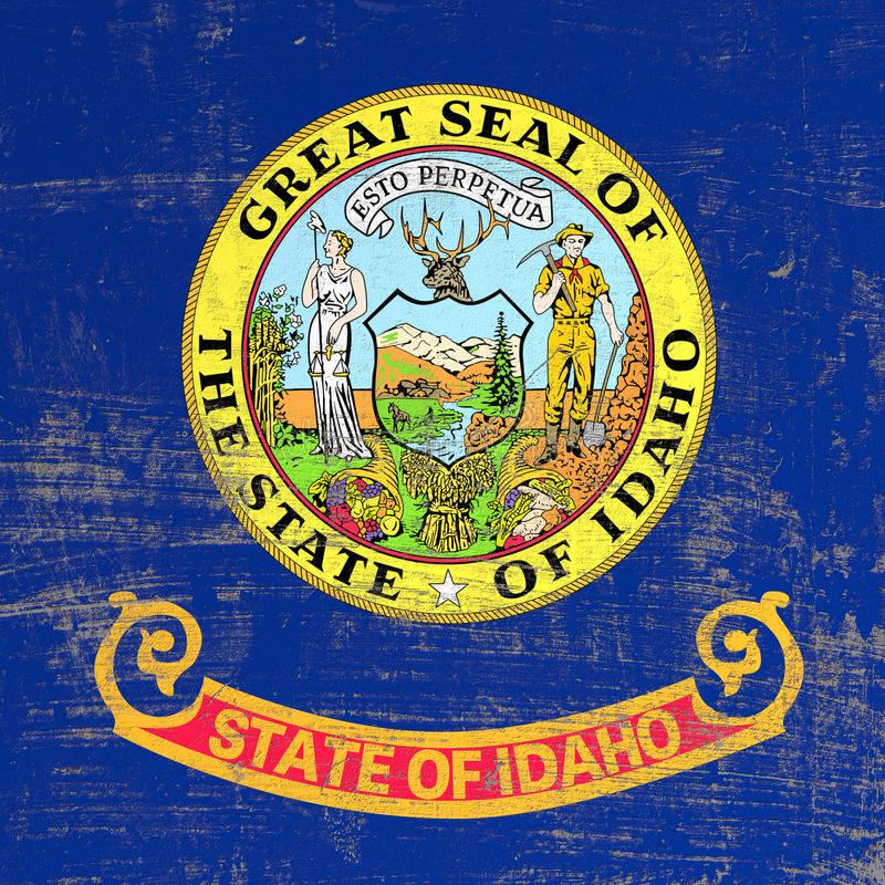 Scratched Idaho flag. 3d rendering of Idaho flag in a scratched surface vector illustration