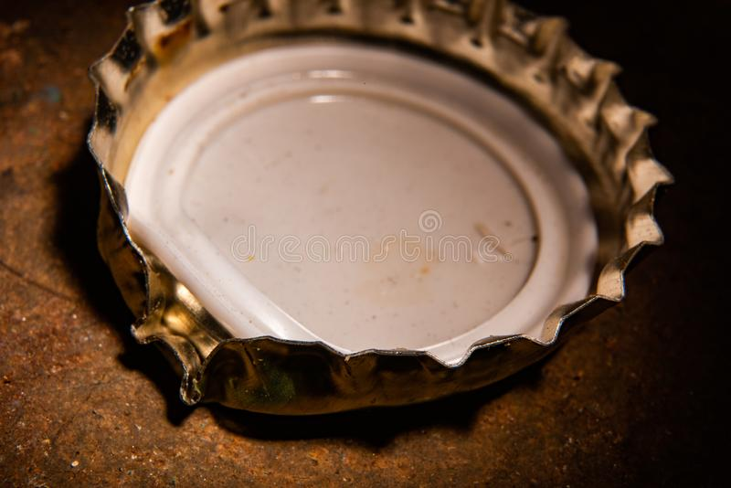 Scratched metal cover. Soft focus stock image