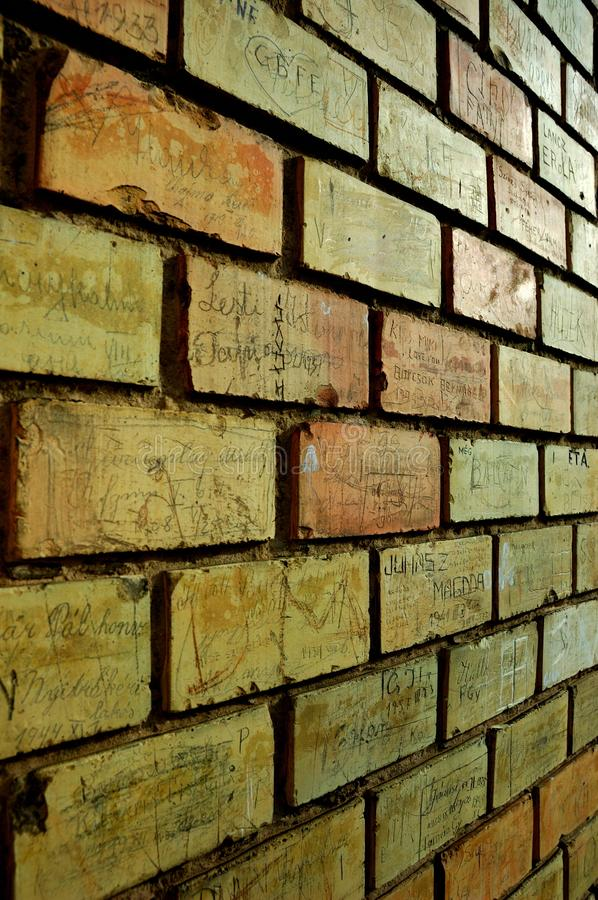 Scratched names in the wall. royalty free stock photos